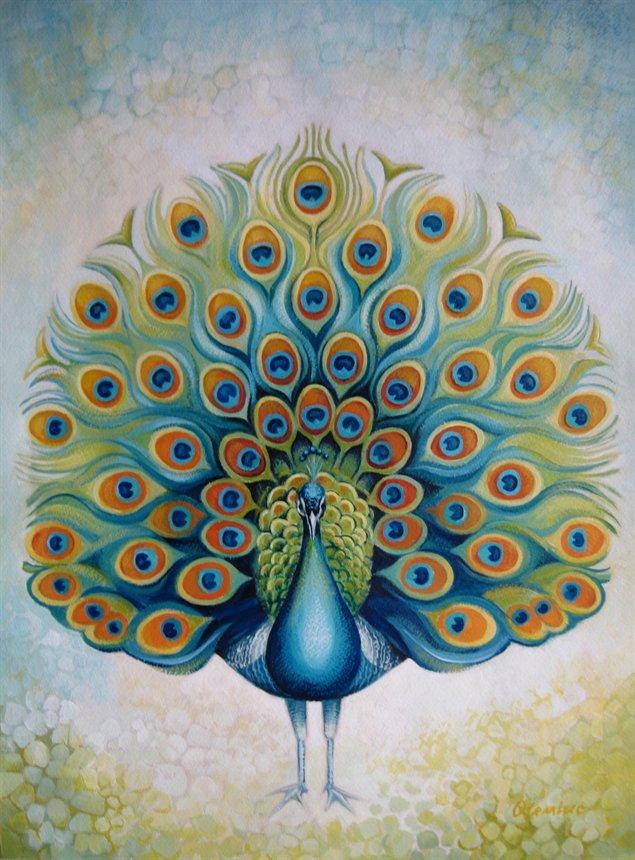 peacock watercolor paintings | Parasol Dreams
